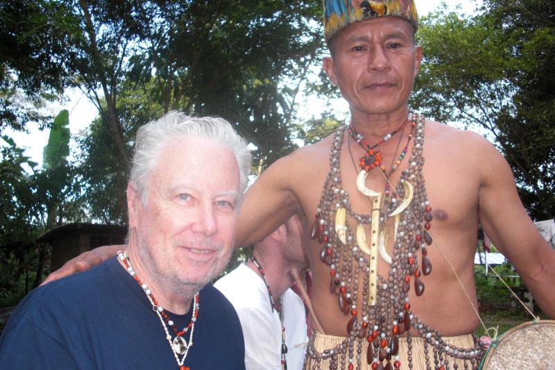 John Alexander with Shaman Don Luis at the headwaters of the Amazon, Ecuador, 2009.