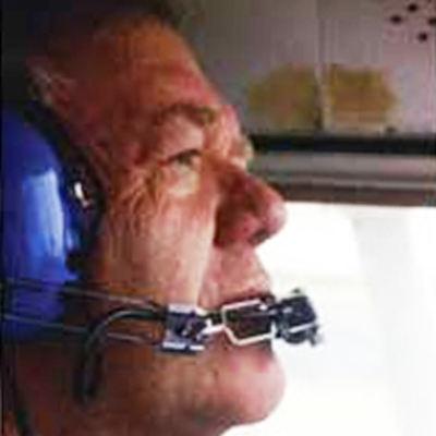 A photo of Art Campbell searching the crash site in 1996.