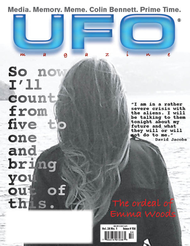 The cover story of Emma Woods in UFO Magazine.