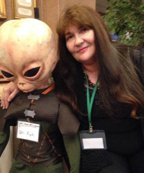 Debra Jayne East and a friend at a convention.