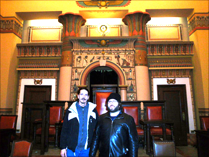 Freeman Fly and Dan Fogler at a Masonic Temple.