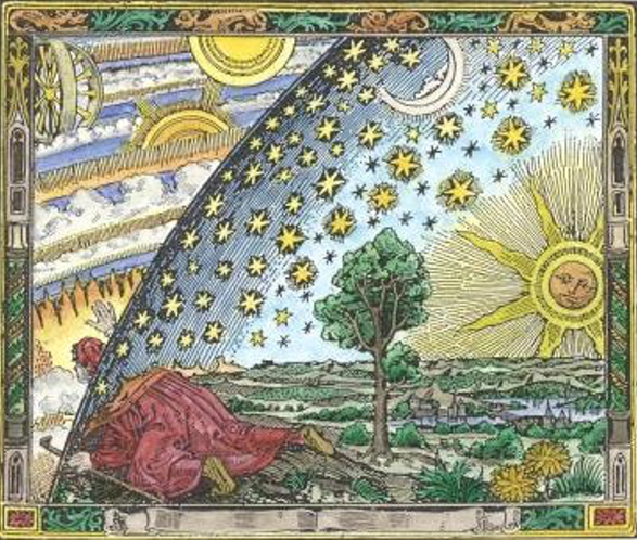 The classic woodcut showing a man looking out at the cosmos.