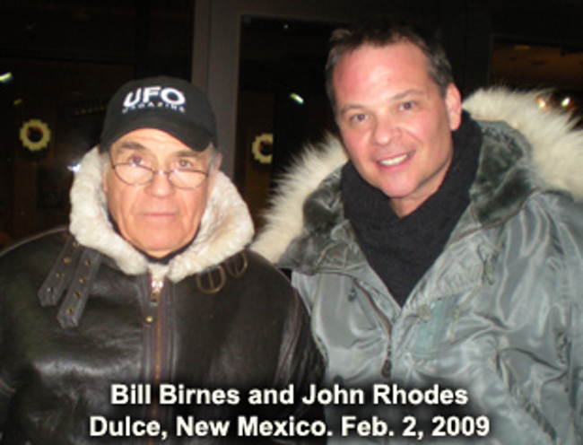 A photo of Bill and John Rhodes on the set of UFO Hunters.