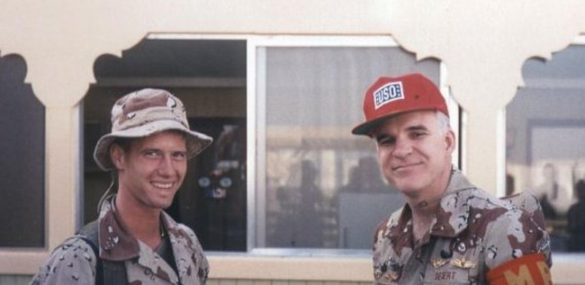 A photo of our guest James S. and Steve Martin.