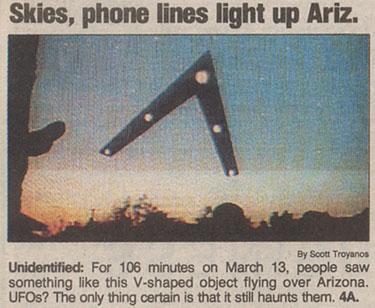 A clipping from a 1997 newspaper about the Phoenix Lights.