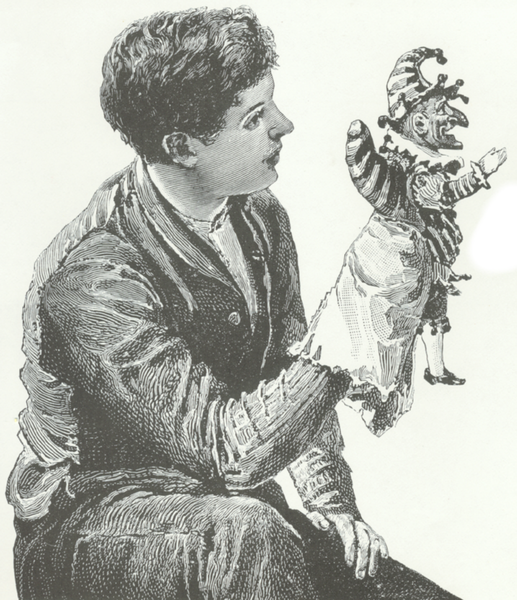 Drawing of a man holding a puppet.