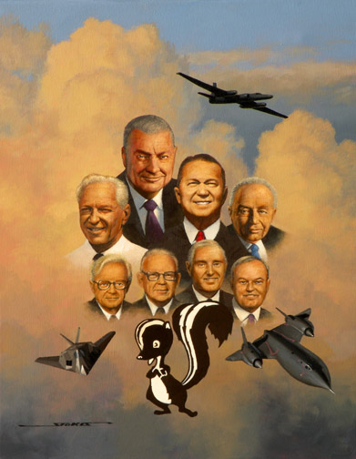 A painting of the Skunk Works Hall of Fame.