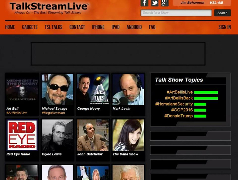 A front page from TalkStream Live showing Art Bell leading the pack.