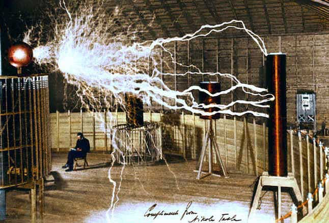 Tesla in his workspace in Colorado.