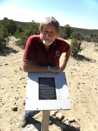 A photo of Frank Thayer at the Aztec Crash site.