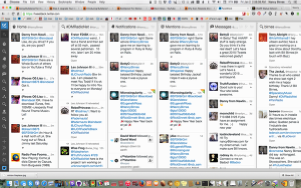 A screen-grab of my Tweetdeck.