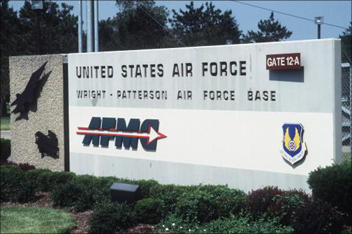 Front entrance sign to Wright-Patterson Air Force Base.