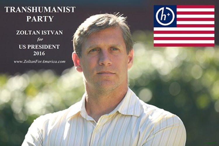A photo of Zoltan Istvan with a couple of intriguing inserts advertising his presidential campaign, based on the concept of transhuminism.